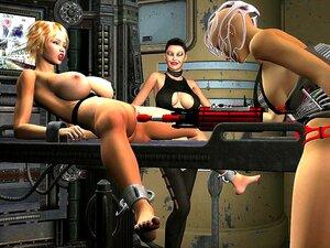 Ganske busty blonde viser av henne juling i 3D-porno